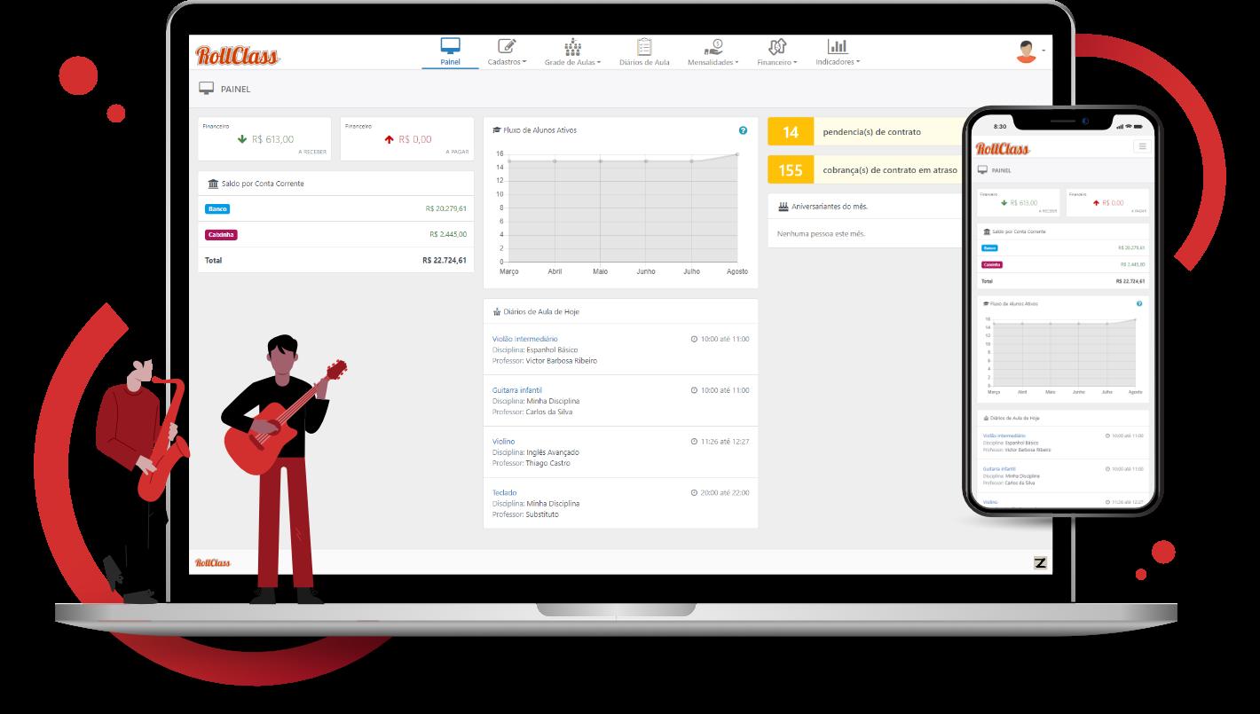 Notebook e Celular com as telas do RollClass